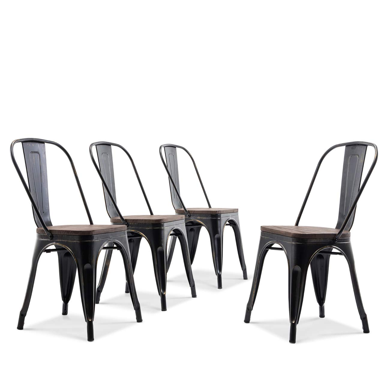 Amazon com belleze set of 4 wood seat cafe bar stool modern style metal industrial stackable bistro dining chairs antique black kitchen dining