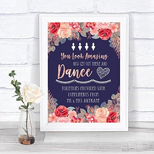 Navy Blue Blush Rose Gold Toiletries Comfort Basket Personalized Wedding Sign