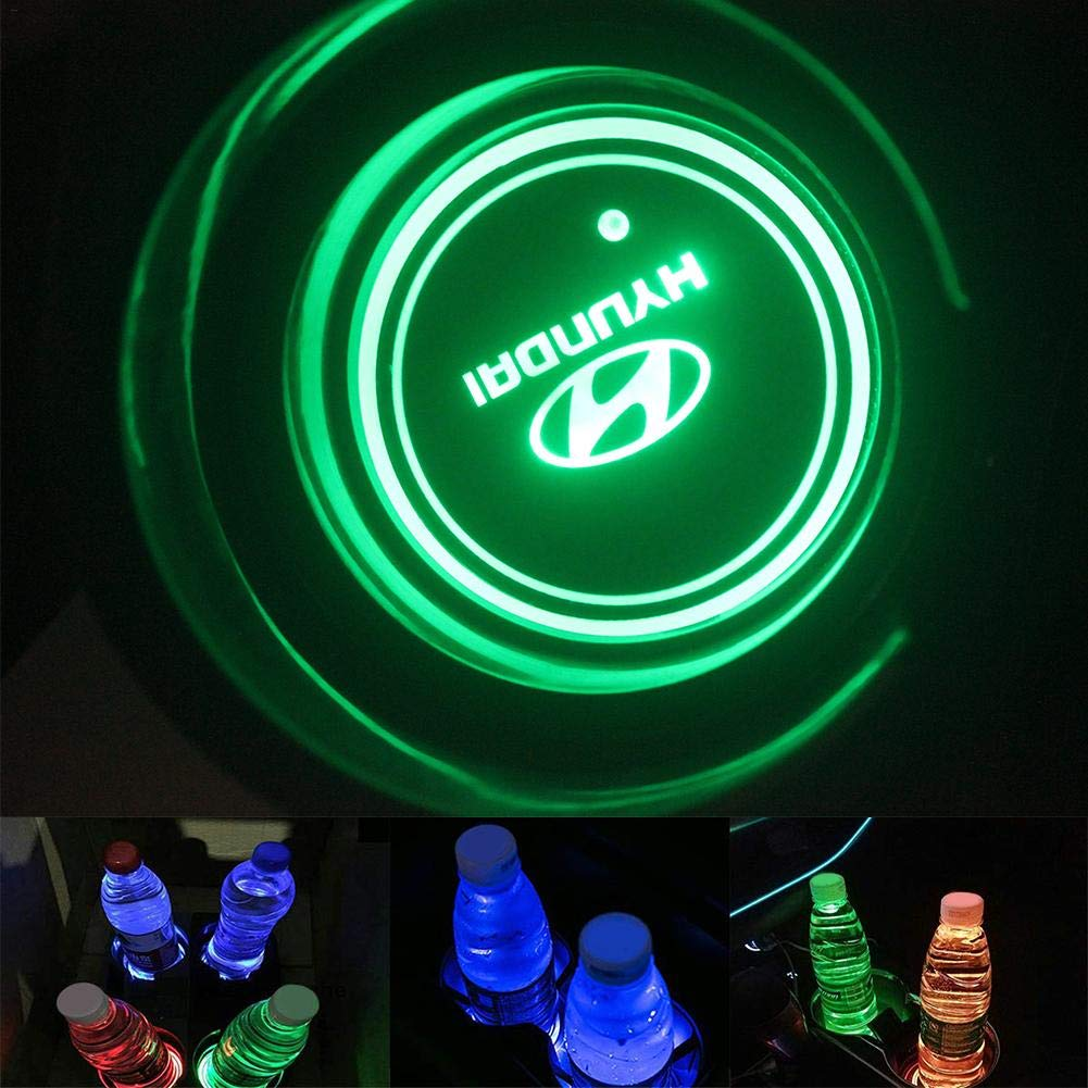 USB Aufladung 2 St/ück Logo LED Auto Getr/änkehalter Matte Flasche Getr/änke Untersetzer Auflage Wasserdicht Untersetzer Wasserdichte Eingebaute Helle Und Auto Innendekoration Licht,7 Farben
