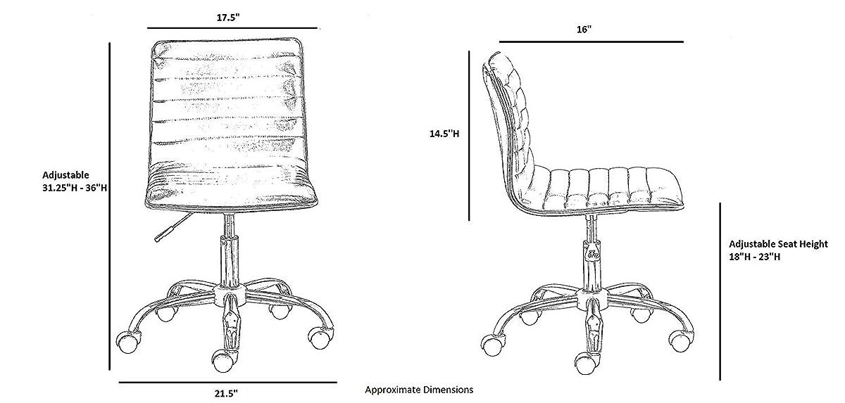 BTEXPERT 5029w BTExpert Swivel Mid Back Armless Ribbed Designer Task Chair Leather soft upholstery Office Chair - White