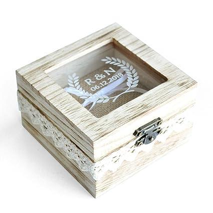Personalized caja caja de anillos de boda anillos de boda rústico diseño de madera caja de