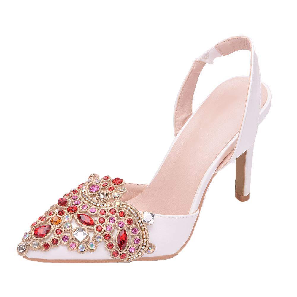 HLG Cristal mujeres nupcial zapatos de boda de tacón alto ...