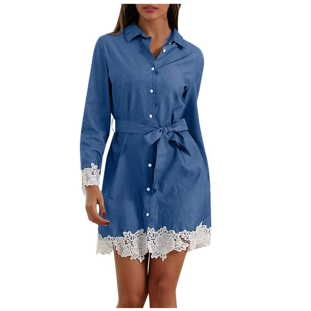 Girls Denim Button Down Mini Dress Autumn Lace Panel Long Sleeve Casual Dress with Belt(L,Blue) by Annhoo