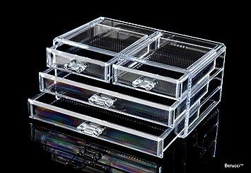 Amazoncom Berucci Clear Four Drawers Acrylic Jewelry Makeup