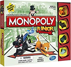 Welcome to the first Monopoly game for kids, where they can earn money the fun way! The Monopoly Junior game is just like the classic Monopoly game, but it's accessible and exciting for younger players. It's fast, simple, and full of surprise...