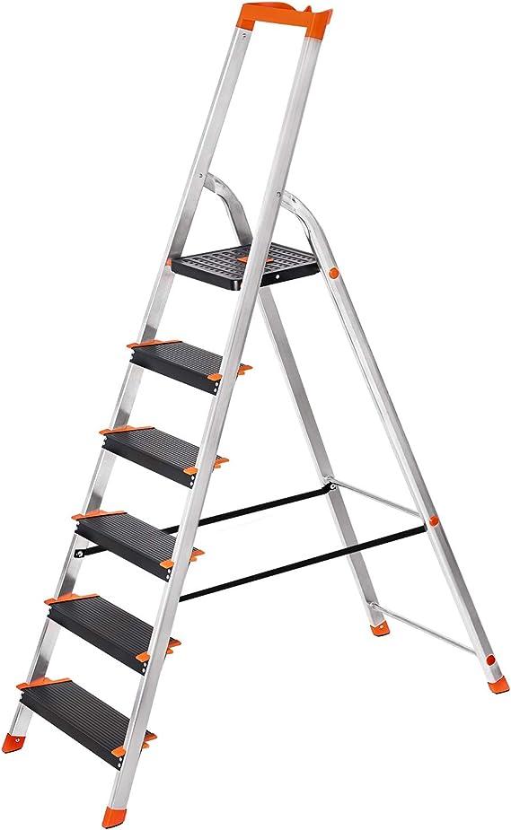 SONGMICS Escalera de 6 Peldaños, Escalera de Aluminio con Peldaños de 12 cm de Ancho, Escalera Plegable con Bandeja y Pies Antideslizantes, Carga de 150 kg, TÜV Rheinland Test, GS EN131, Negro