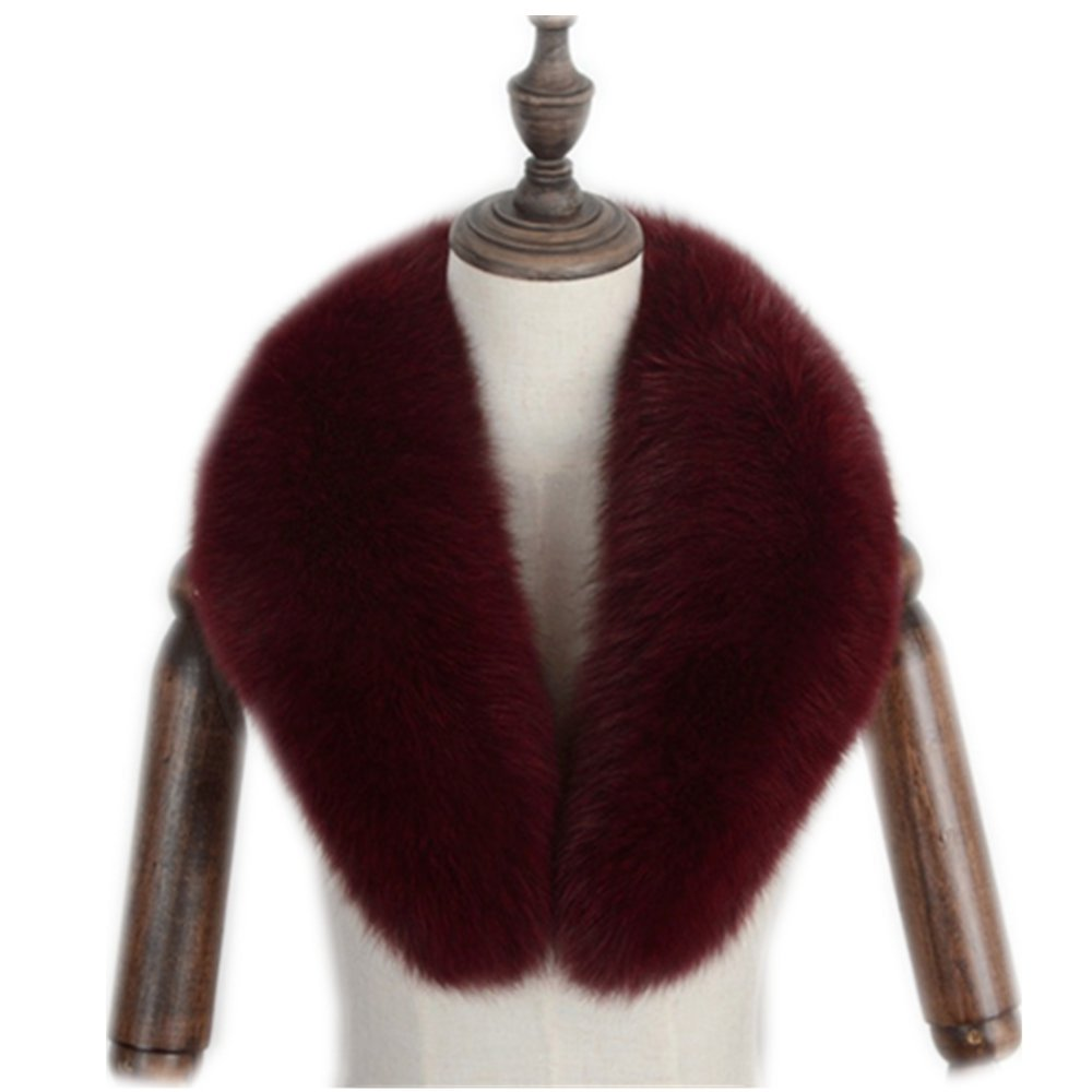 Gegefur Genuine fox fur collar scarf female winter fox fur collar warm shawl (80cm, Red wine) by Gegefur