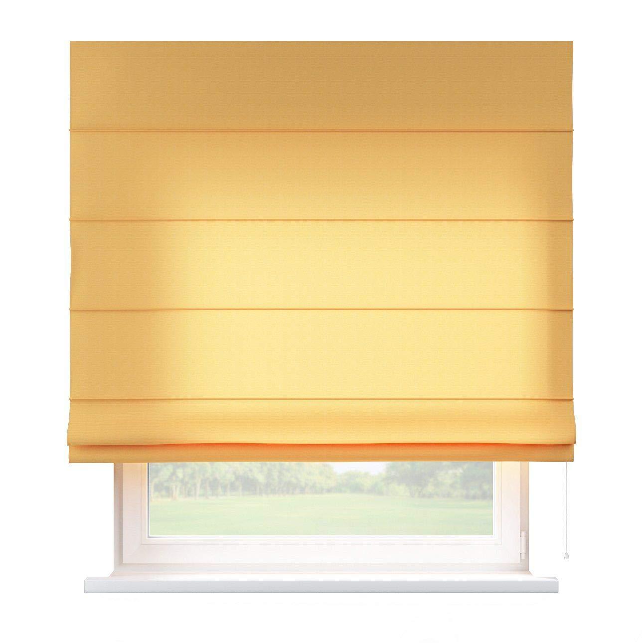 Dekoria Raffrollo Capri ohne Bohren Blickdicht Faltvorhang Raffgardine Wohnzimmer Schlafzimmer Kinderzimmer 130 × 170 cm Gold-gelb Raffrollos auf Maß maßanfertigung möglich