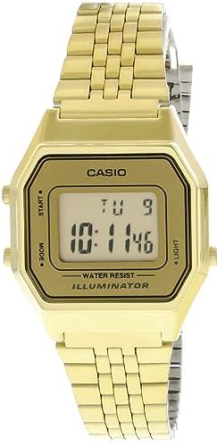 Amazon.com: Casio Señoras Mid-Size Oro Tono Digital Retro ...