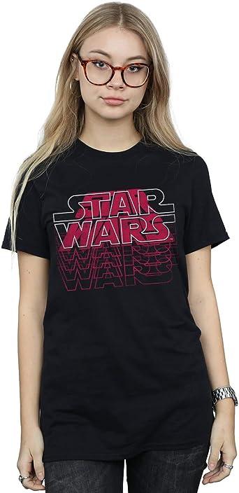 Star Wars Mujer Blended Logos Camiseta del Novio Fit