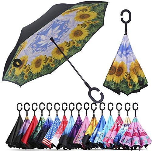 Windproof Nylon Umbrella (Owen Kyne Windproof Double Layer Folding Inverted Umbrella, Self Stand Upside-Down Rain Protection Car Reverse Umbrellas with C-Shaped Handle (Blue Sky Sunflower))