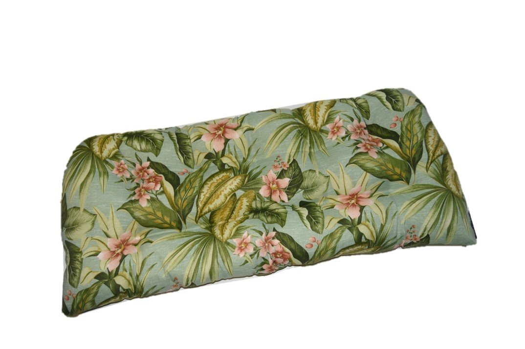 Indoor / Outdoor Tufted Cushion for Wicker Loveseat Settee - Jamaican Mist Tropical Floral