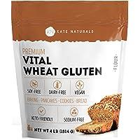 Premium Vital Wheat Gluten - Kate Naturals. High Protein, Low Carb, Vegan, Non GMO. Fresh. Perfect for Keto. 1-Year Guarantee (4lb).