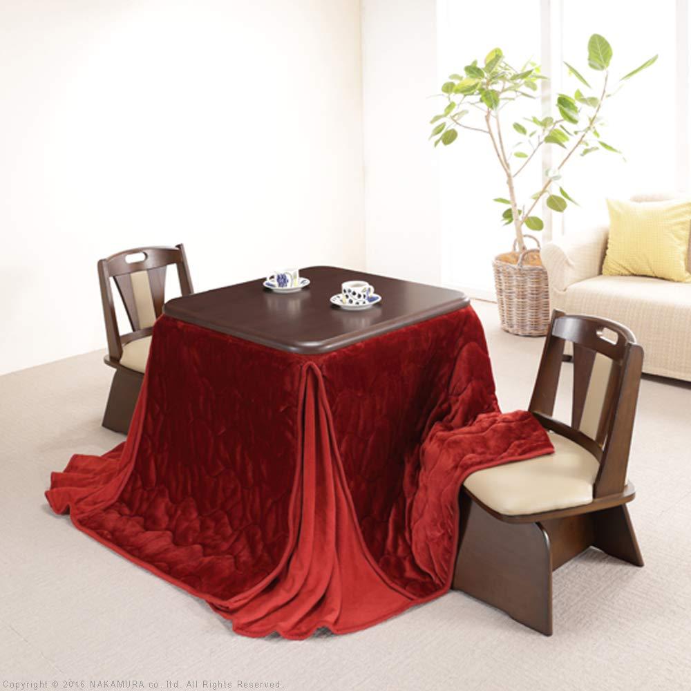 こたつテーブル 正方形 80 ダイニングこたつ 本体+専用布団+回転椅子2脚 4点セット レンガ×ブラウン B07H2WYK5F レンガ×ブラウン レンガ×ブラウン