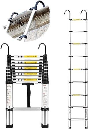 Escalera telescópica Escalera de extensión telescópica de Aluminio Alta, Tarea Pesada Plegable Gancho, para la casa de la Oficina al Aire Libre Interior del desván, Carga 150k: Amazon.es: Hogar
