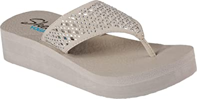 e3287c76cd2e Skechers Womens Vinyasa Flow Wedge Lightweight Memory Foam Flip Flops -  Taupe - 11