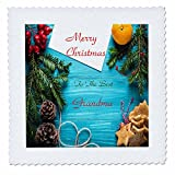 3dRose Christmas For Special People - Image of Merry Christmas Grandma On Aqua Wood With Holly - 16x16 inch quilt square (qs_262556_6)
