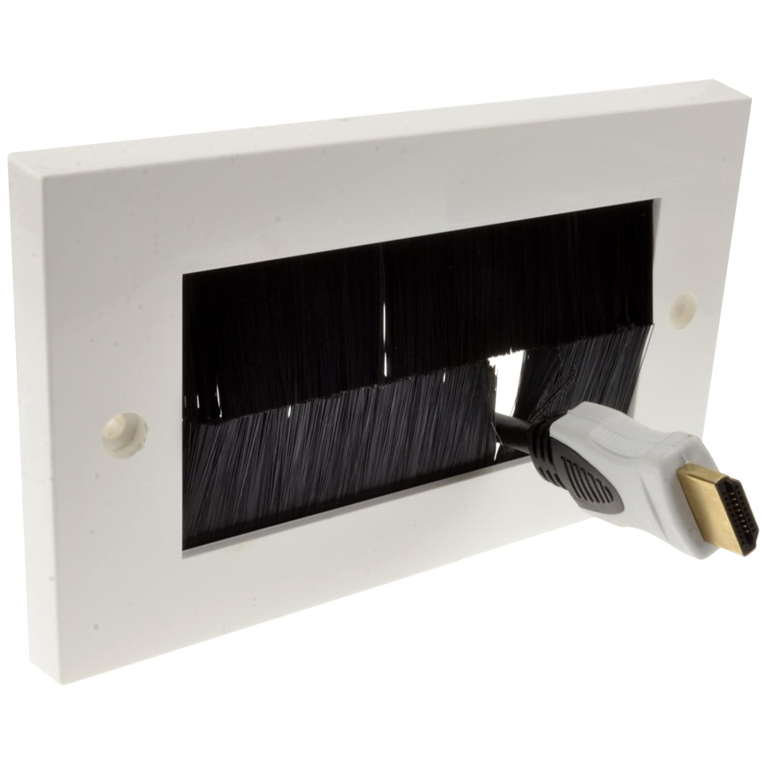 kenable Exit/Wall Outlet UK Single Gang Faceplate Brush for Cable - White/Black singlewhite B0095ZM4DC