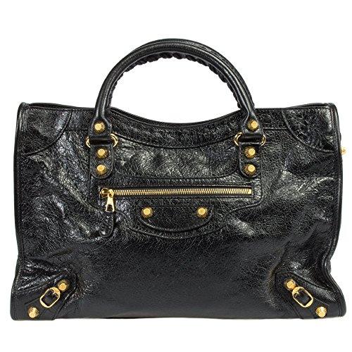 Balenciaga Women's Giant 12 Gold City Bag, Black, Medium
