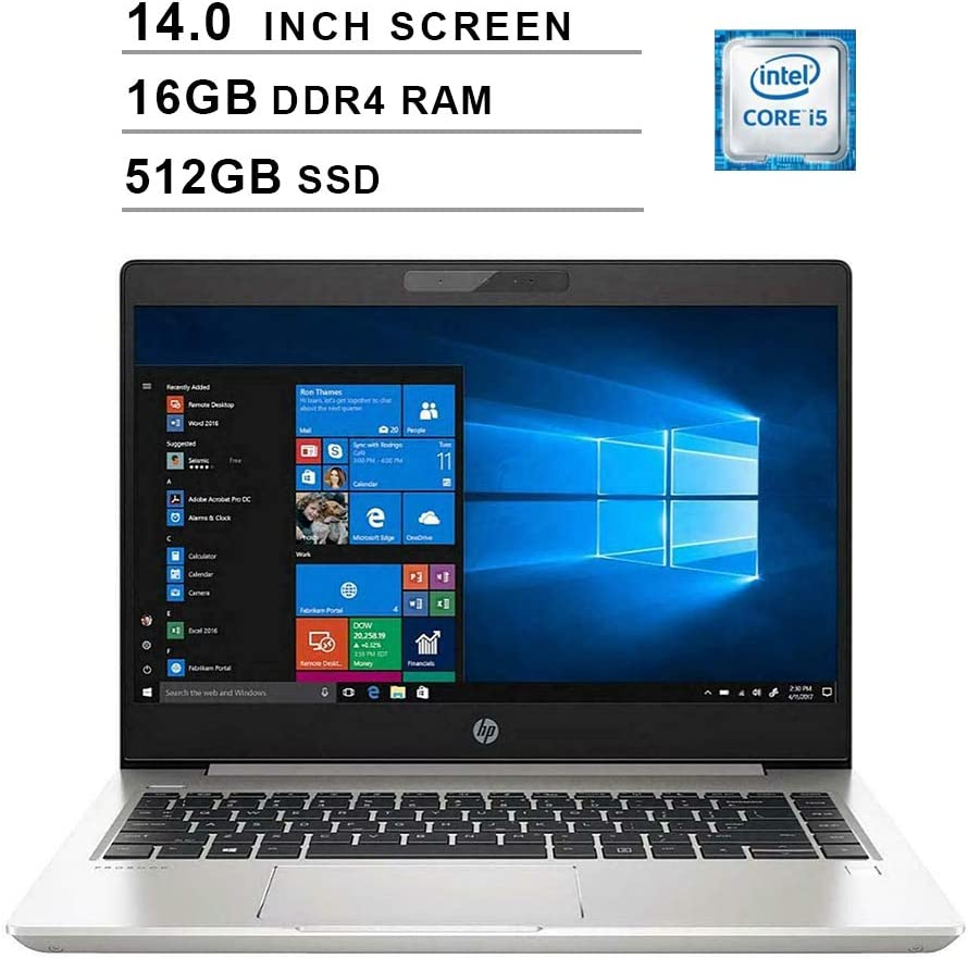 2020 Premium HP ProBook 440 14 Inch HD Business Laptop (Intel Core i5-8265U up to 3.90 GHz, 16GB DDR4 RAM, 512GB SSD, WiFi, Bluetooth, HDMI, Windows 10 Pro) (Silver)