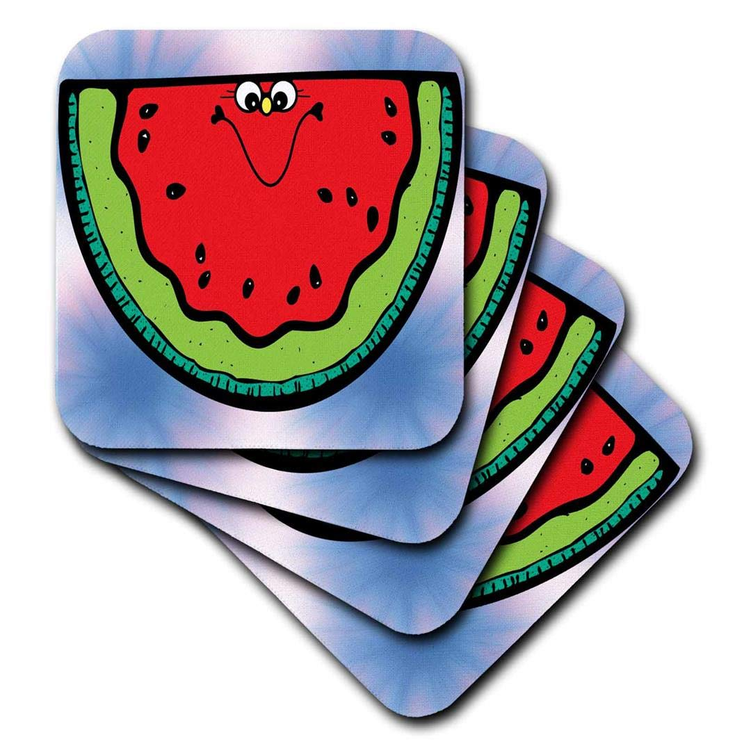 Set of 8 3dRose CST/_202560/_2 Cute Country Happy Watermelon Soft Coasters,