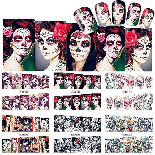 NICOLE DIARY 12 Sheets Nail Art Water Decal Halloween Theme Sexy Skull Manicure Nail Art Transfer Sticker (12 patterns BN181-192)