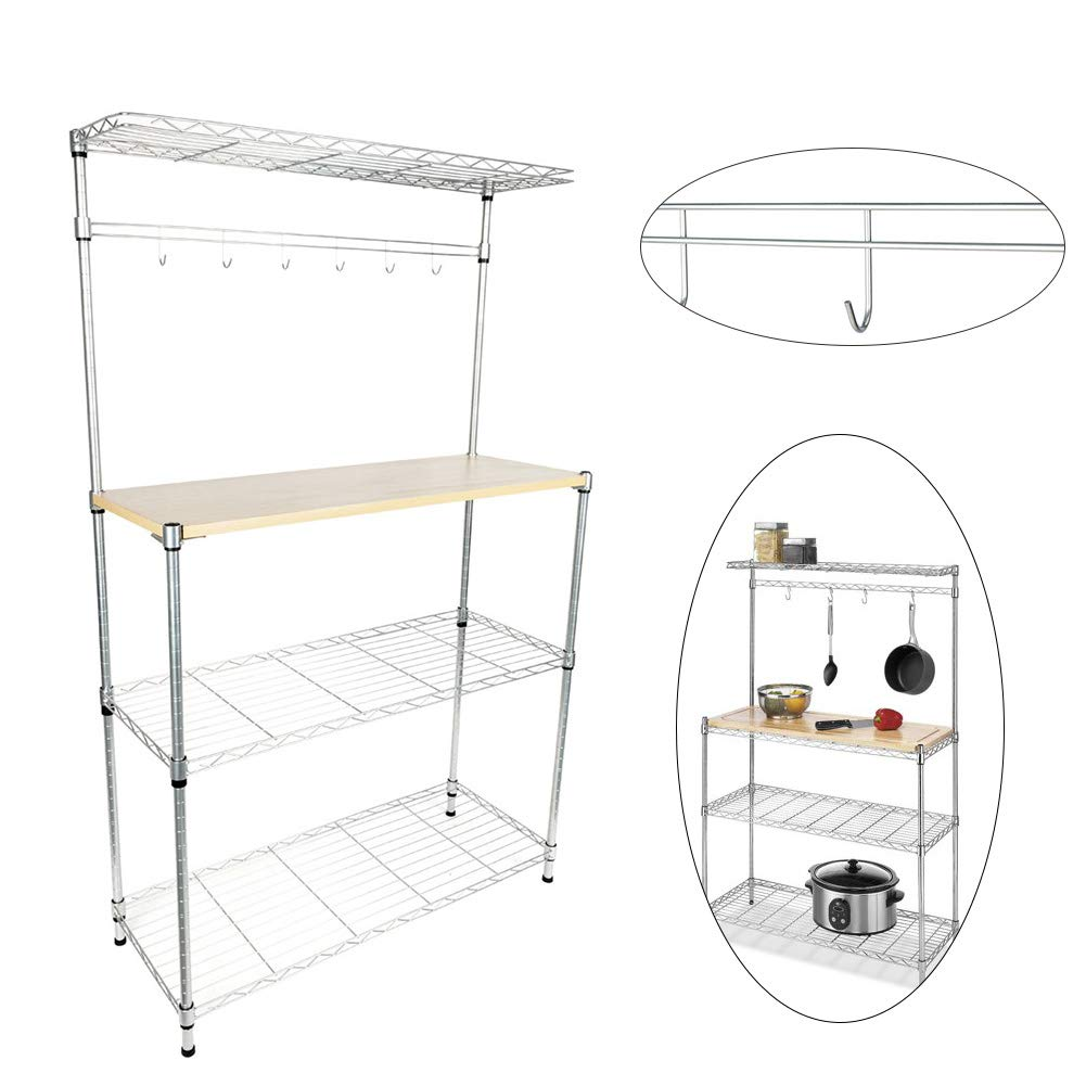 Bakers Rack,4-Tier Kitchen Corner Shelf Microwave Oven Cart for Dining Stand Storage Organizer Workstation with with MDF Board & 6pcs Wave Rod Silver Home Furniture