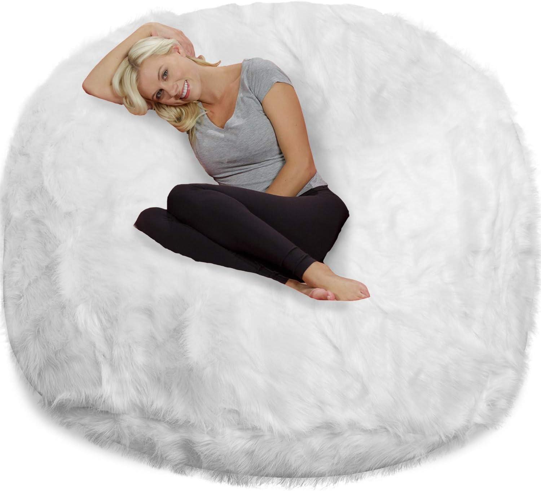 Chill Sack Chair: Giant 6' Memory Foam Furniture Bean Bag Big Sofa with Soft Cover, 6 Foot, Plush Faux Fur - White