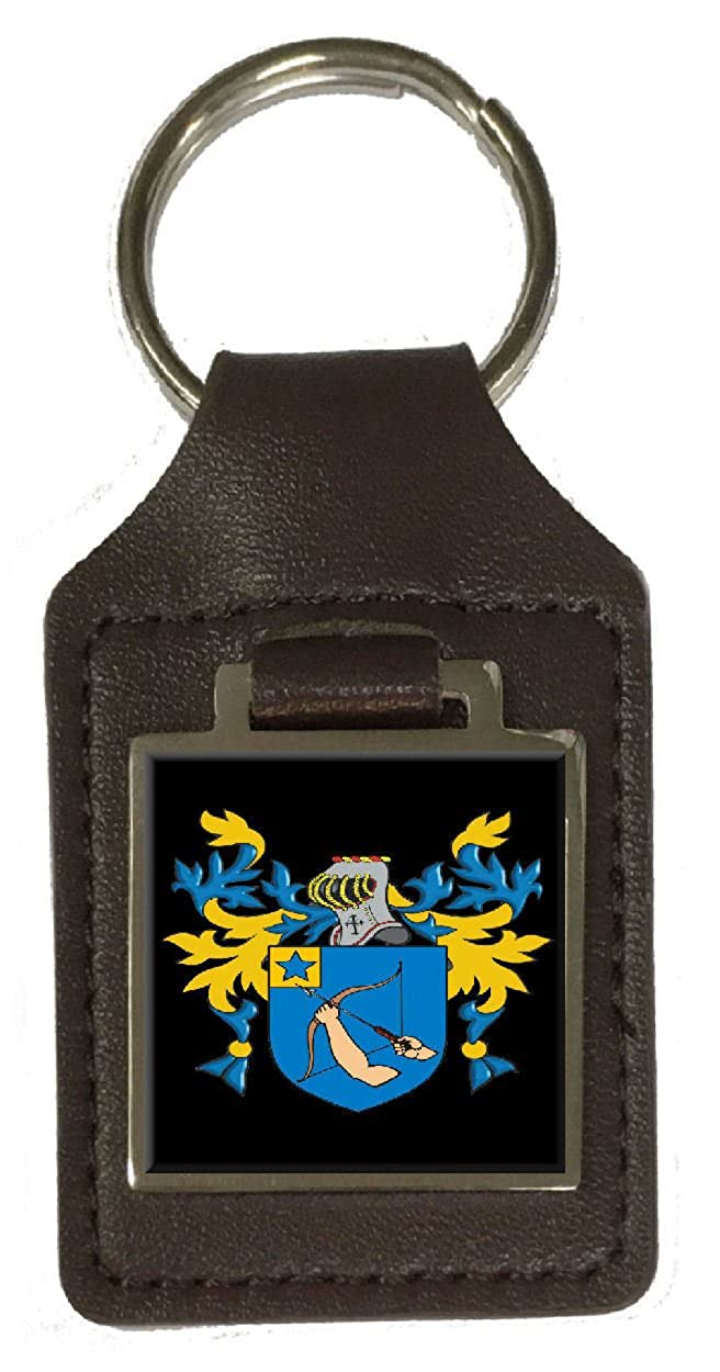 Vince Family Crest Surname Coat Of Arms Brown Leather Keyring Engraved