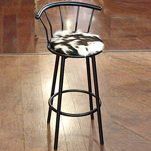 - TEXANDECOR Western Genuine Leather Cowhide Hair ON BAR Stool