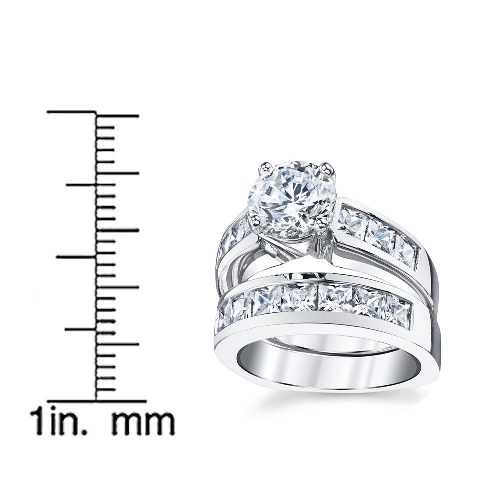 Sterling Silver Bridal Set Engagement Wedding Ring Bands with Round and Princess Cut Cubic Zirconia 7 by Bonndorf (Image #4)