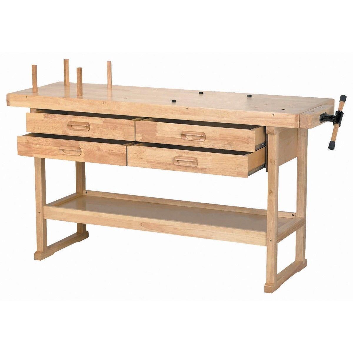 60in Hardwood 5ft Work Bench Shop Table Vice Storage 4 Drawer Tool US Seller