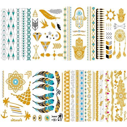Qufan Metallic Flash Temporary Tattoo (8 Sheets) Gold Silver Glitter Waterproof Fake Jewelry Tattoos Stickers - arrows, floral,Jewelry,Feathers