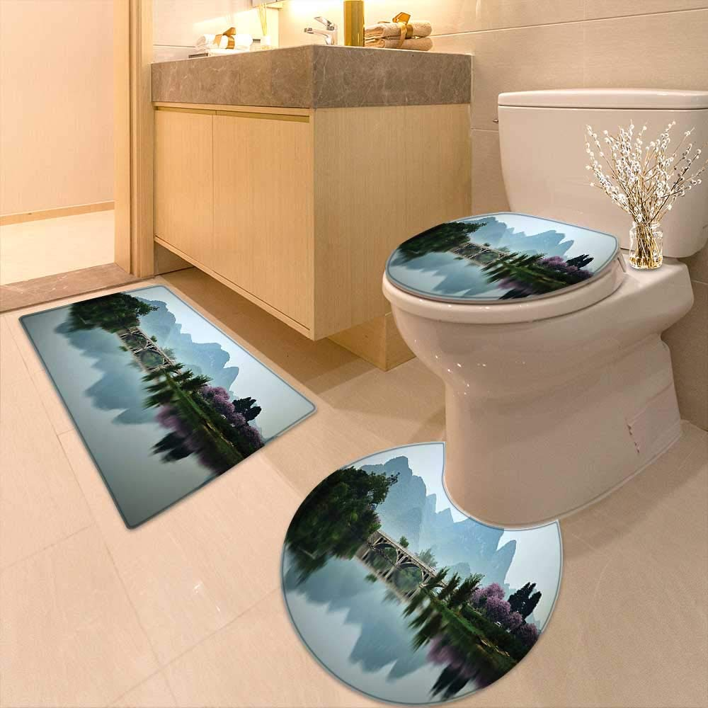 Printsonne Lid Toilet Cover Decor Japanese National Park Bridge Reflections of The Mount on The Lake Scenery Personalized Durable