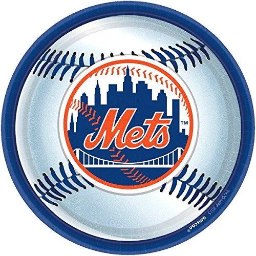Amscan Sports & Tailgating MLB Party New York Mets Round Paper Plates (Pack of 18), Multicolor, (Mlb Paper)