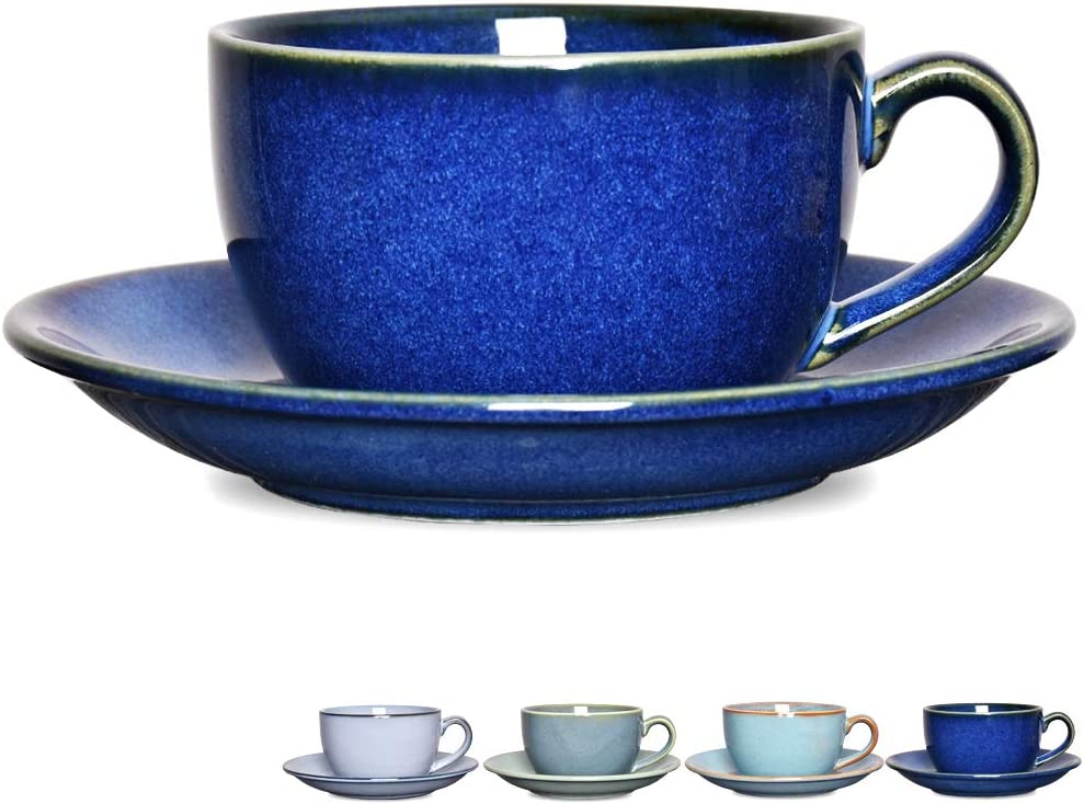 Bosmarlin Coffee Cup Mug with Saucer for Latte, Cappuccino, Tea, 8.5 Oz, Dishwasher and Microwave Safe, Reactive Glaze, 1 Pcs(Royal blue, 1)