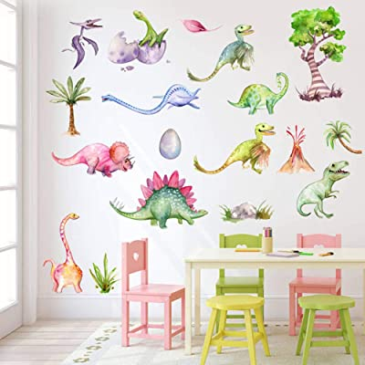 Mendom Watercolour Dinosaur Wall Decals, Peel and Stick Colorful Wall Art Mural for Kids Bedroom,Nursery, Classroom & More: Kitchen & Dining