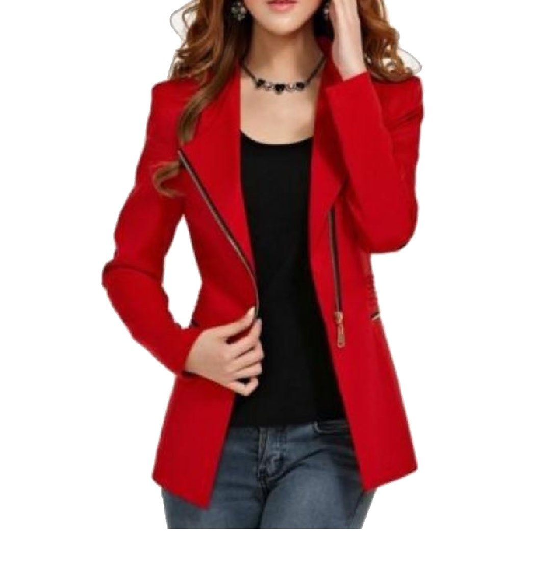 Kankanluck Women Mid Long Casual Wrap Zipper Slim Fitted Career Simple Small Blazer Red M