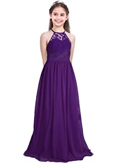 9fd966ee12 iEFiEL Girls Halter Lace Chiffon Flower Wedding Bridesmaid Dress Junior  Ball Gown Formal Party Pageant Maxi