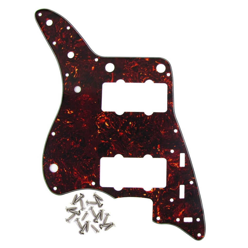 IKN Real Brown Tortoise Shell 4Ply Guitar Pickguard Scratch Plate for American Fender Style Vintage JM Guitar, with Screws
