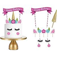 Huiyoo Happy Birthday Cake Topper Eenhoorn Cake Vlag Verjaardag Feestartikelen Taart Decoratie voor Baby Verjaardagsfeest(1)