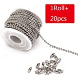 Tiparts 30 Feet Stainless Steel Ball Chains Necklace with 20pcs Connectors Clasps,Silver Bead Chain Sets (Chain Width…