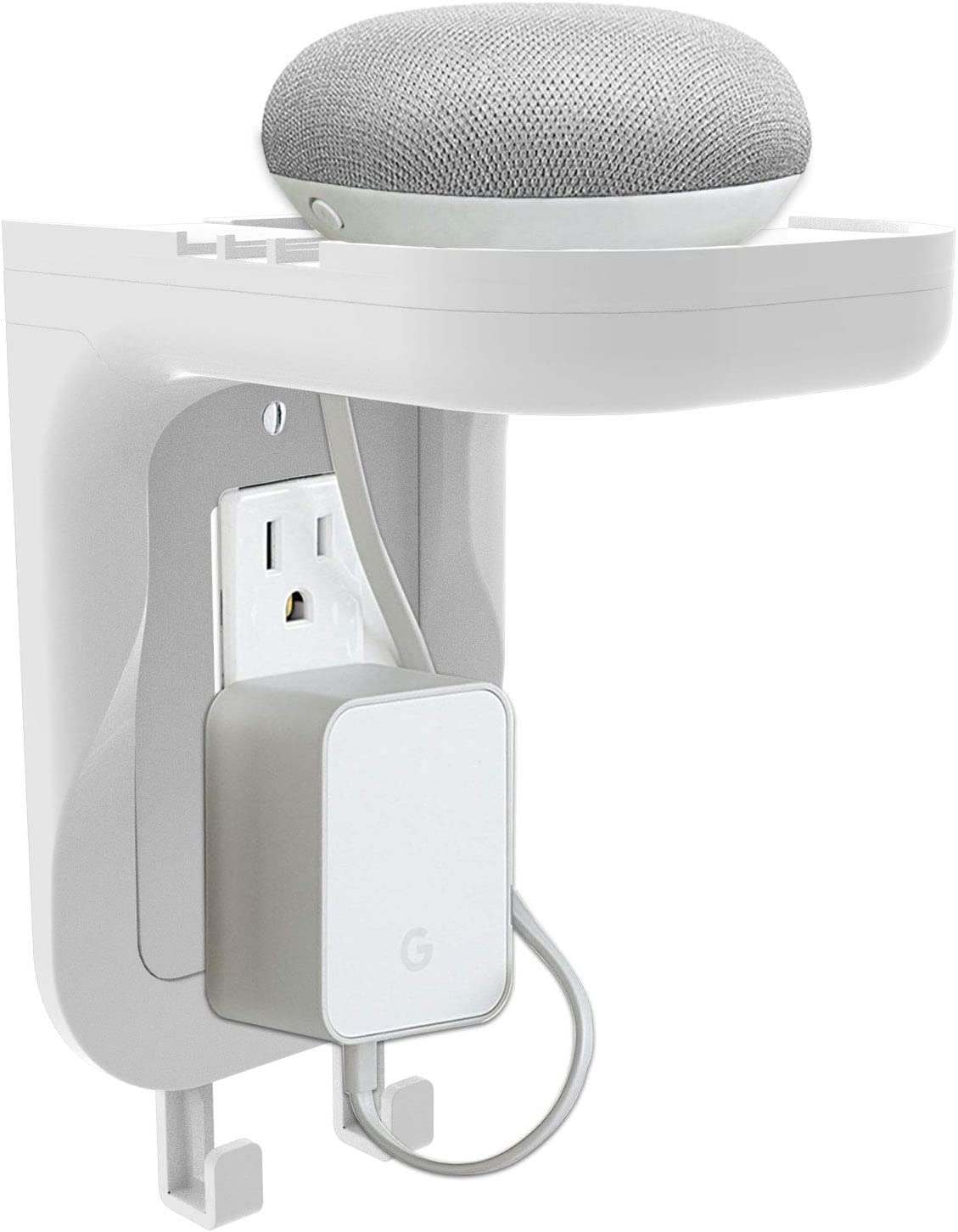 WALI Wall Bathroom Shelf Standard Vertical Duplex GFCI Décor Outlet Charging for Cell Phone, Dot, Google Home, Speaker up to 20lbs with Cable Management and Detachable Hooks (OSH001-W), White