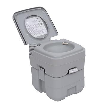 Homcom Portable Travel Mobile Toilet Outdoor Camping Handle WC Grey ...
