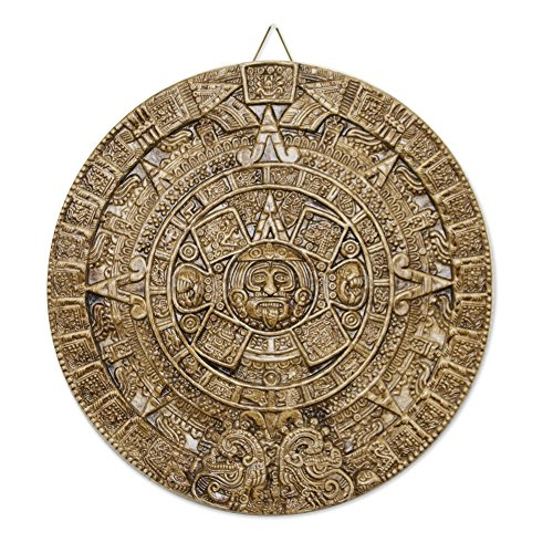 NOVICA Light Brown Archaeological Theme Ceramic Advent Calendar Plaque, Honey Aztec Sun Stone'