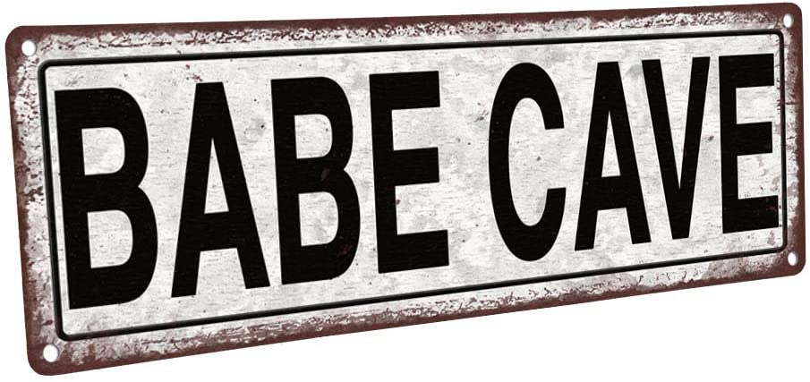 """Homebody Accents Babe Cave Metal Sign, 4""""x12"""", Vintage, Retro, Wall Décor"""