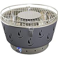 Airbroil Junior Activa Tischgrill silber Edelstahl Stahl Kunststoff kleiner Camping Balkon Picknick ✔ rund ✔ tragbar rauchfrei ✔ Grillen mit Holzkohle ✔ für den Tisch