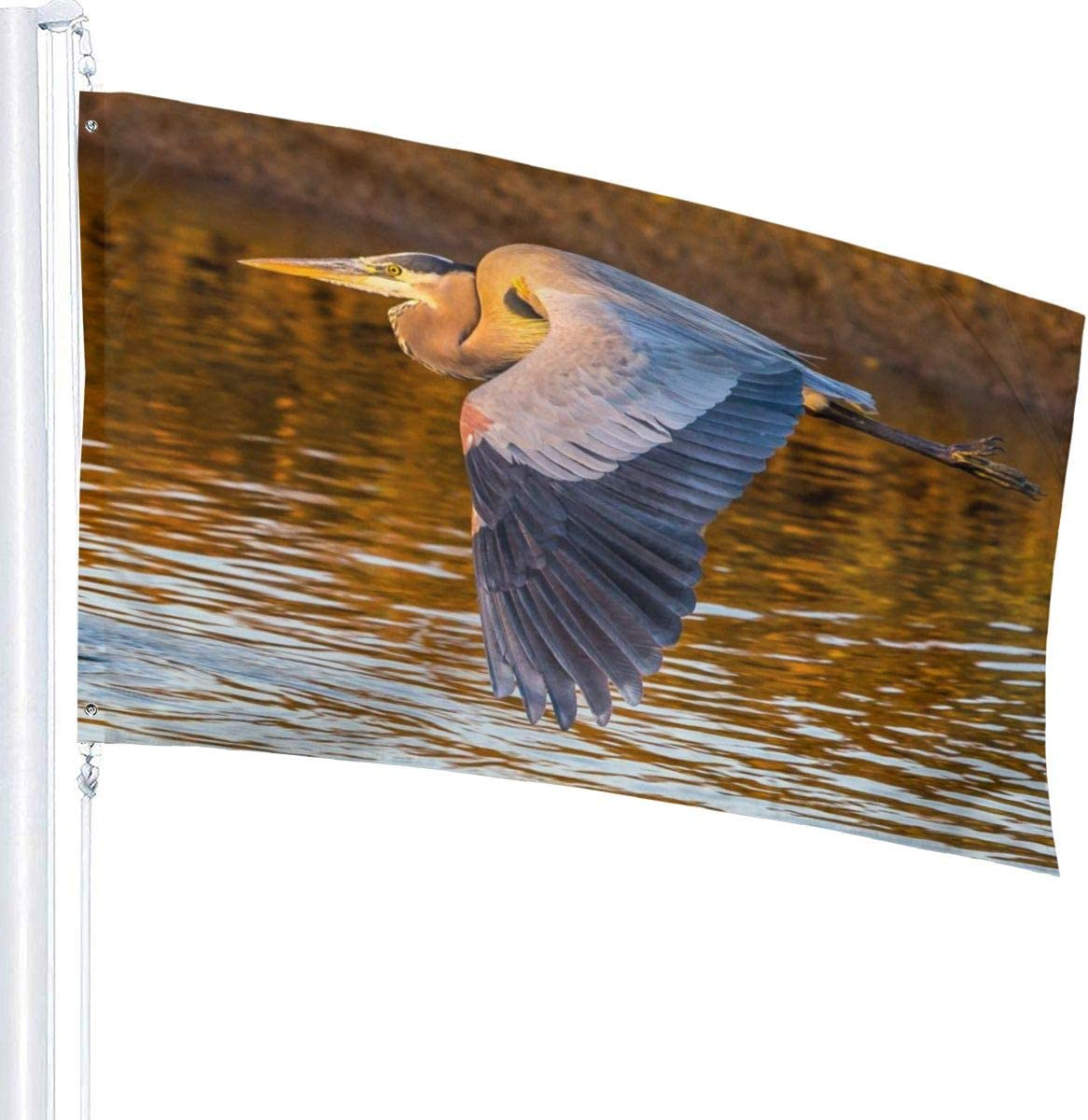 MVNB Beautiful Big Blue Heron Fly Breeze 3x5 Foot Polyester Flag,Fade Resistant Durable Beach Flags with Header and Brass Grommet,Easy to Use