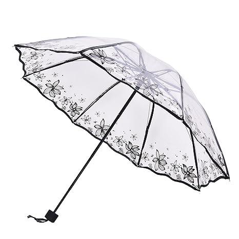 37YIMU® Mujeres transparente paraguas plegables sombrilla monocromo dama lluvia claro paraguas, flores de verano