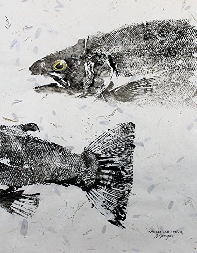 Steelhead Trout GYOTAKU fish Art print 8.5 X 11 inch Picture by Barry Singer Lake House Cottage décor